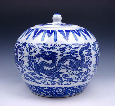 Blue&White Glazed Porcelain Dragons Painted Round Melon shaped LARGE Jar #122815