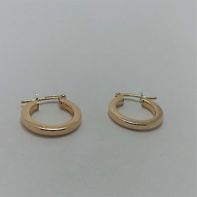 9Ct Yellow Gold Small Flat Sided  Hoop Earrings