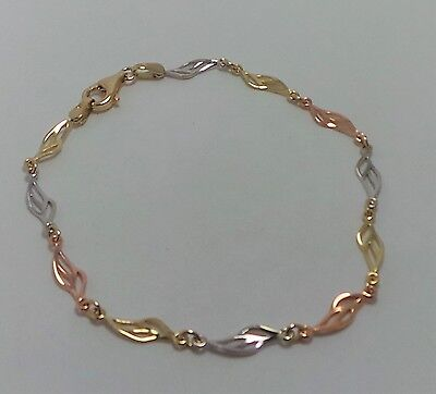 9Ct Yellow, Rose & White Gold  Patterned Bracelet 19.5Cm