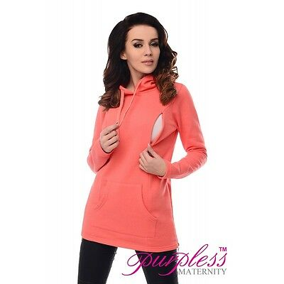Purpless Maternity 2in1 Nursing Hoodie 9050 Coral Size UK 14 Box4753 F