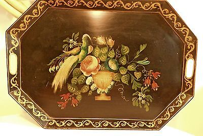 """Antique Vtg Large Hand Painted Metal Tole Tray - Bird Flowers Vase/Urn 18"""" X 26"""""""