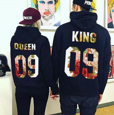 Fashion Couple Matching Hoodies King And Queen Print Casual Pullover Sweatshirt