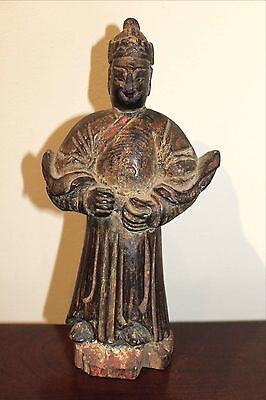 Real Ancient Antique Hand Carved Wooden Imperial Guard Asian Figure - OLD!