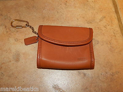 Vtg Coach  Natural  British Leather Coin Purse With Key Chain