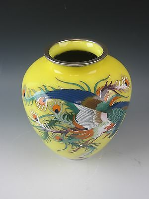 Japanese Yellow Cloisonne Vase on Silver Wire Peacock Motif