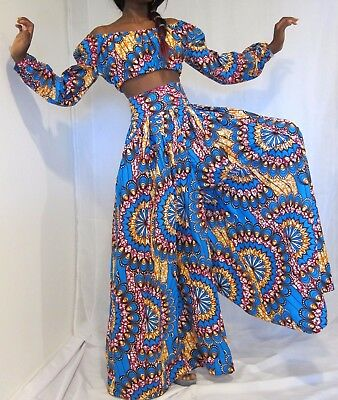 Africa print outfit/High waist pants/Wide leg pants/ Flare pants/Wedding pants