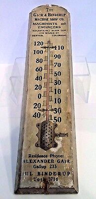 Vintage Machine Shop Wood Advertising Thermometer - Early 1900s - Denver, Co.