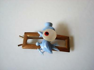 Vintage Brass Tone Barrette Blue Plastic and Mother of Pearl Bird in Top Hat