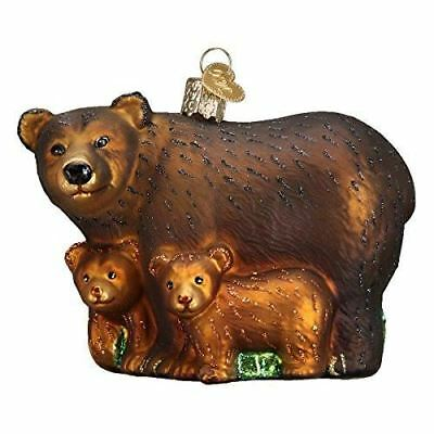 Old World Christmas Bear with Cubs Glass Blown Ornament