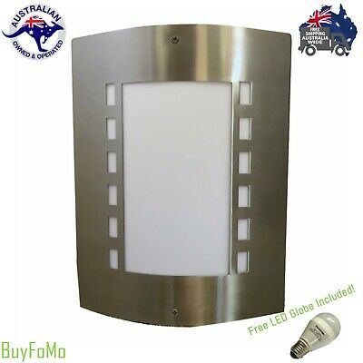 2 Stainless Steel outdoor curved wall mounted lights sconces + FREE LED GLOBES