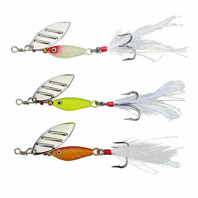 3pcs/lot Metal Spoon Fishing Lure With Feather Wobblers Spinner Bait, Goture