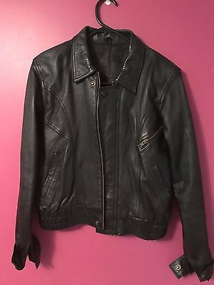 Genuine black leather jacket size 8 perfect condition ...