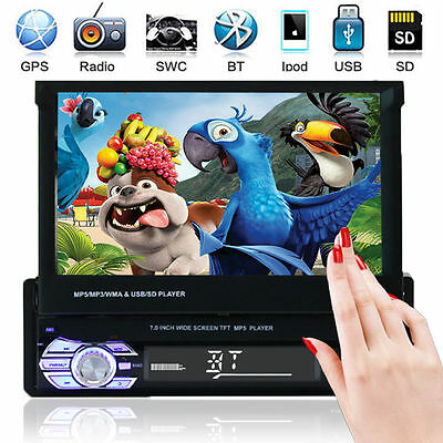 """Auto Stereo MP5 MP3 Player 7 """"Flip Up Bluetooth Touch AM FM Radio Single DIN USB"""