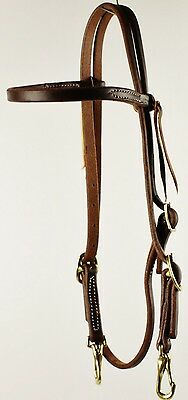 Western Pre-Oiled Double Buckle Browband Headstall Horse Bridle with Snaps NEW