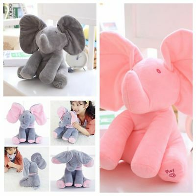 Peek-a-boo Elephant Baby Soft Plush Toy Singing Stuffed Animated Animal Doll Hot