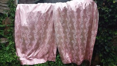 VINTAGE 1950s FABRIC PINK SHABBY CHIC COTTAGE PAIR  LINED CURTAINS ORIGINAL