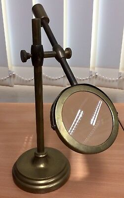 Vintage / Antique Brass Magnifying Glass Jewellers Loupe on adjustable stand
