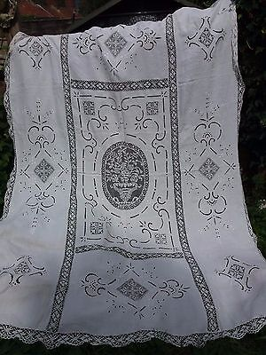 Vintage White Linen Lace Bedspread Tablecloth Throw Shabby Chic 76 X 101""