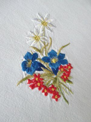 VINTAGE TABLECLOTH EMBROIDERED with SWISS ALPINE FLOWERS