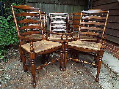 Quality Set of Eight (6+2) Solid Oak Rush Seat Dining Chairs FINEQUALITY ref1212