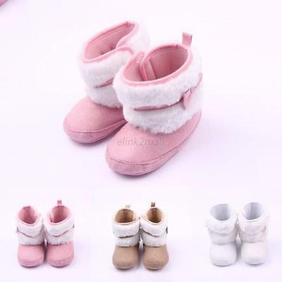 Baby Toddler Winter Warm Boots Girl Booties Soft Crib Pram Shoes Trainer 0-12 M
