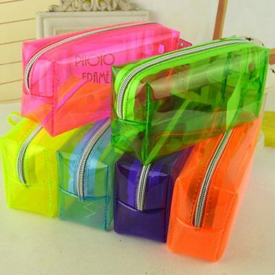 Clear Various Color Zipper Stationery Pencil Case Cosmetic Bag Pouch Storage