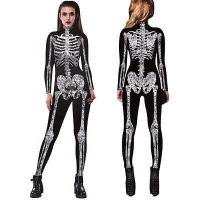 Men Womens Skeleton Bones Halloween Cosplay Bodycon Party Fancy Play Clothing
