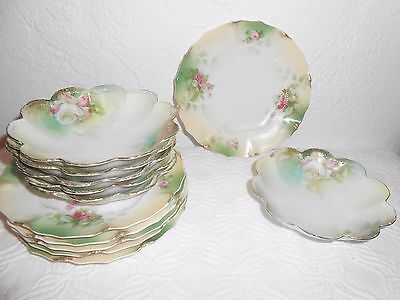 German Antique Porcelain Dessert Set Hand Painted China 6 plates and 6 bowls
