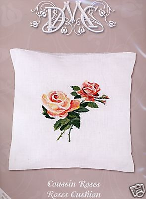 DMC Freestyle Embroidery Kit Roses Cushion Front
