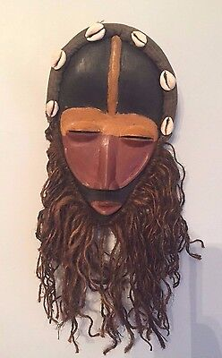 Authentic Vintage African Dan Tribal Mask with Cowry Shells & Beard