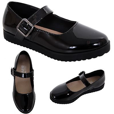Kids Girls Mary Jane Patent Back to School Buckle Chunky Smart Pumps Shoes