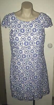 Review Blue And White Floral Dress, Size 12