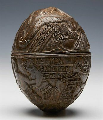 Antique Benin Carved Coconut With Provenance Early 20Th C.