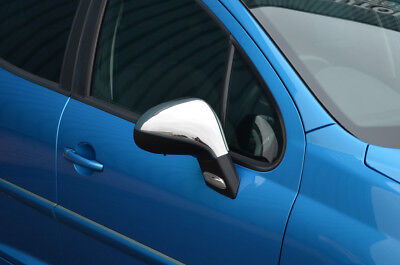 For Peugeot 207 Chrome Side Door Wing Mirror Trim Set Surrounds Covers S.steel