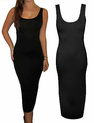 Womens Ladies Long Jersey Stretch Midi Maxi Summer Beach Dress Size Black 10 S