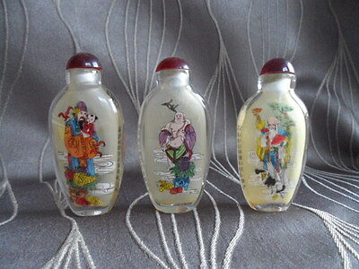 3 Immortals Inside Painted Snuff Bottles with Calligraphy