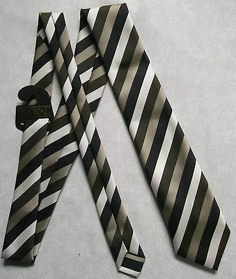 NRE TOOTAL VINTAGE TIE 1980s RETRO MOD CASUAL MODERNIST BROWN BEIGE STRIPED NWT