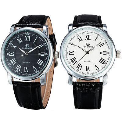 Classic Men Automatic Mechanical Date Roman Index Leather Band Analog Gift Watch