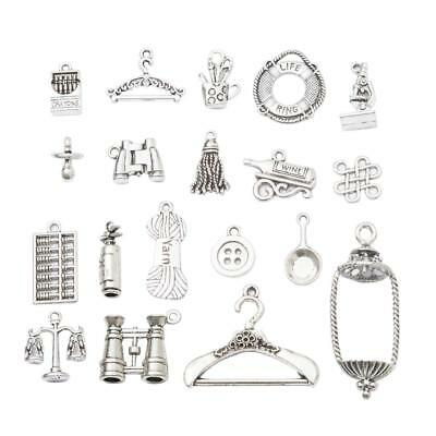 19 Styles Vintage Silver Connectors Jewelry Making Charms Pendant DIY Craft