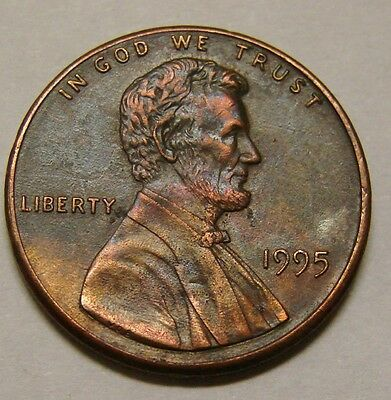 1995 P - Lincoln Cent - Partially Plated Zinc Planchet - Mint Error