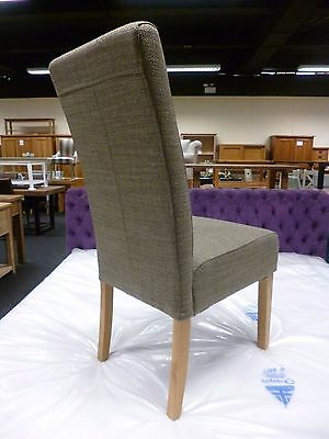 New 4 x Solid Oak & Chunky Brown Tweed Fabric Dining Chairs *Department Store*