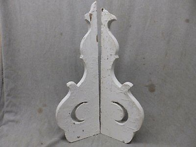 Pr Antique Wood Corbels Shelf Bracket Shabby Moon Chic Porch Vtg 8x24 467-17P