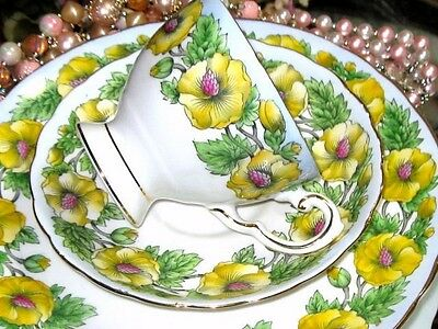 TUSCAN Hand Painted YELLOW FLOWERED Blue Border Tea Cup and Saucer Trio D241