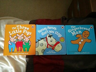 Ladybird board book bundle x3. 2 touch and feel books/ 1 baby play rhymes.