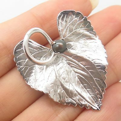 Carl Art Vtg 925 Sterling Silver Real Pearl Leaf Floral Pin Brooch