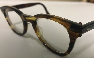 Vintage American Optical Hybrid Stadium Amber 46/24 Men's Plastic Eyeglass Frame