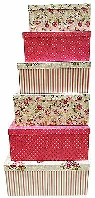 Set of 6 Alef Elegant Decorative Themed Extra Large Nesting Gift Boxes