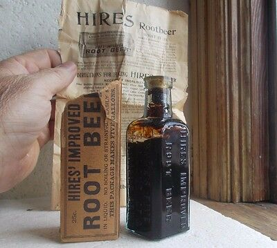 Hires Improved Root Beer Original 1890 Rootbeer Bottle With Contents Adv Flyer