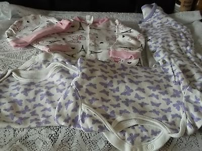 Baby Girls Sleep Suit And Bodysuits Bundle 0-3 Months