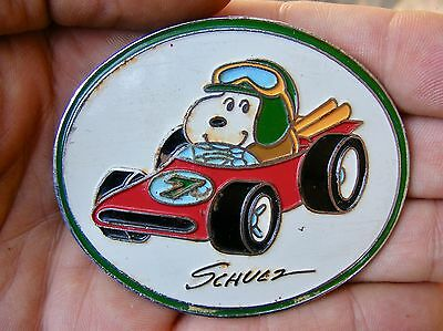 Vtg SNOOPY Belt Buckle 1958 Racecar RACE CAR Peanuts Schulz ART Racing RARE VG+